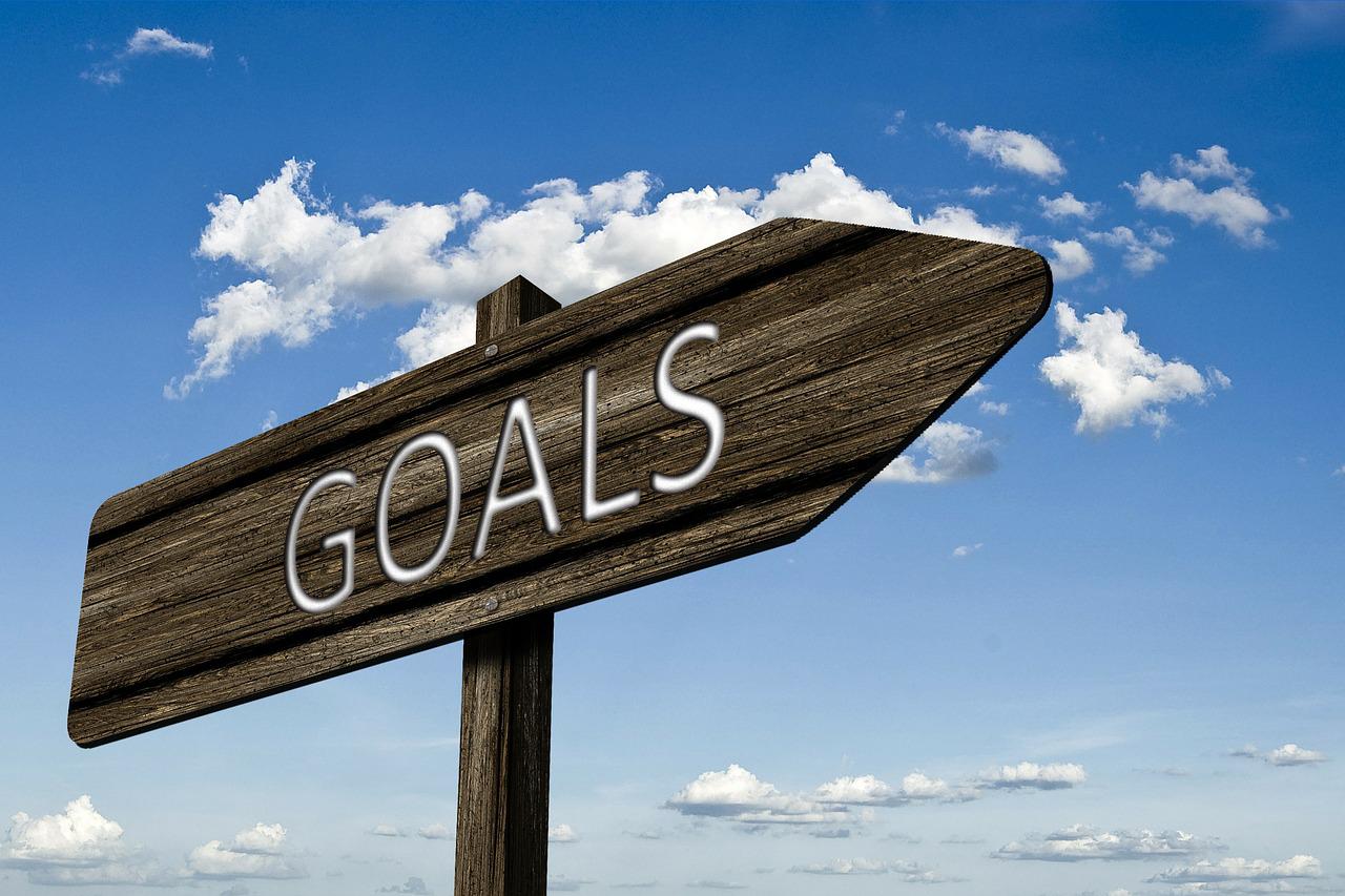 "wooden directional arrow, ""goals"""