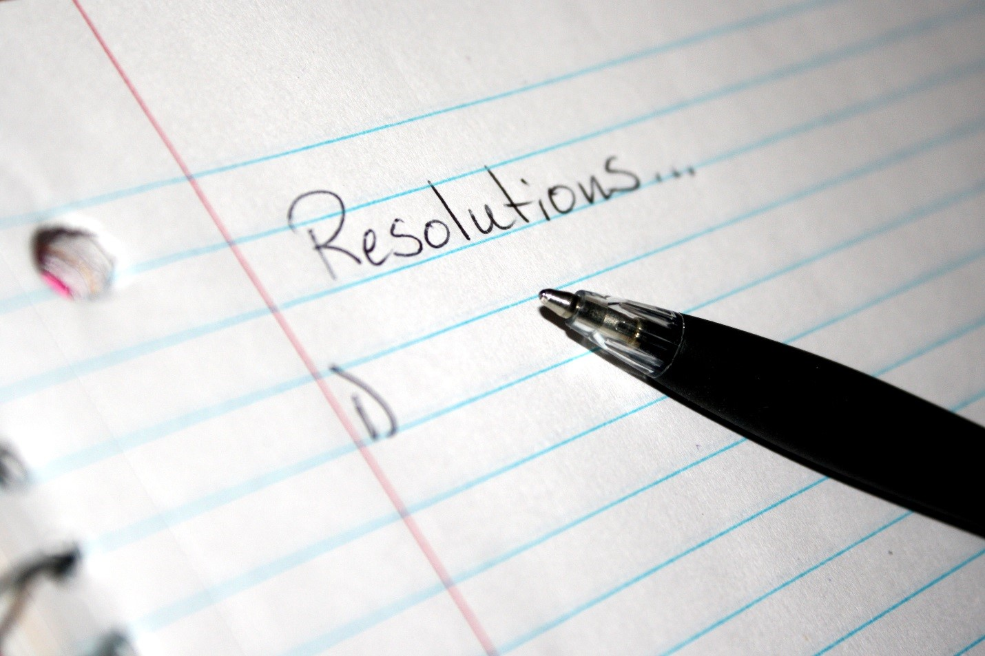 blank resolutions list on a note book page