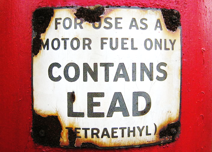lead gasoline label